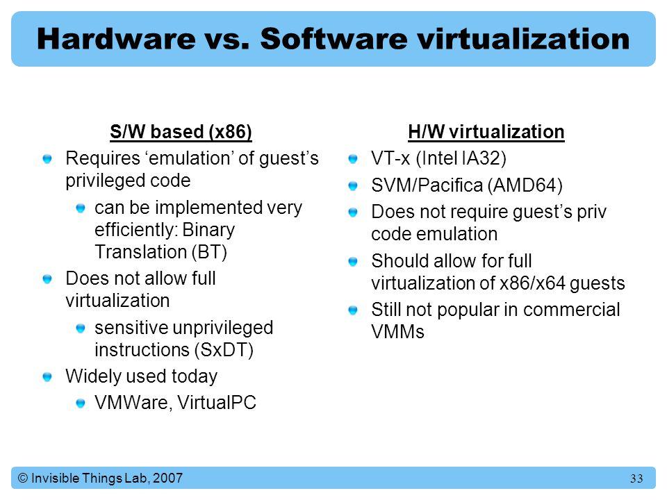 Hardware vs. Software virtualization