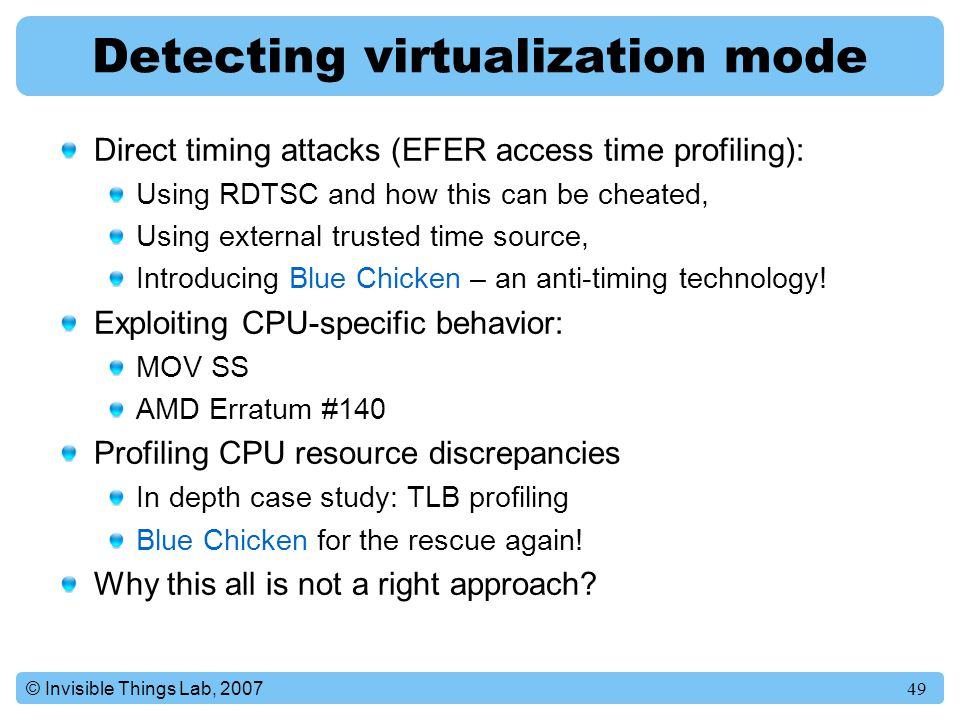 Detecting virtualization mode