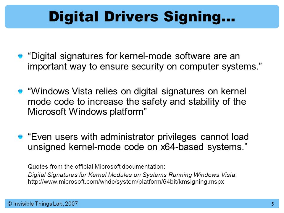 Digital Drivers Signing…