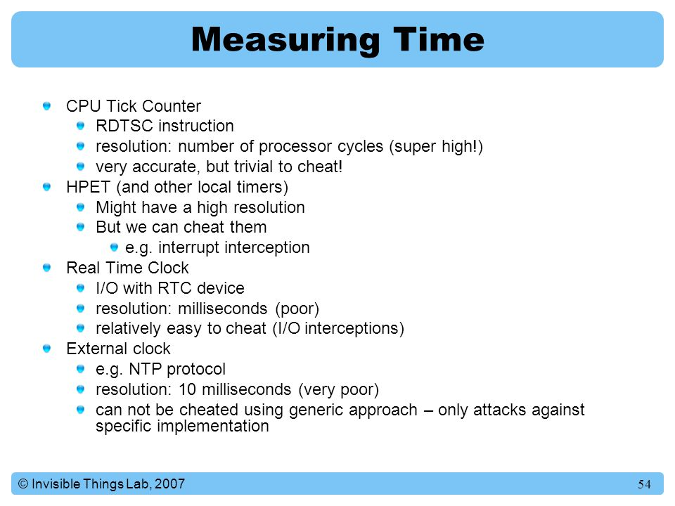 Measuring Time CPU Tick Counter RDTSC instruction