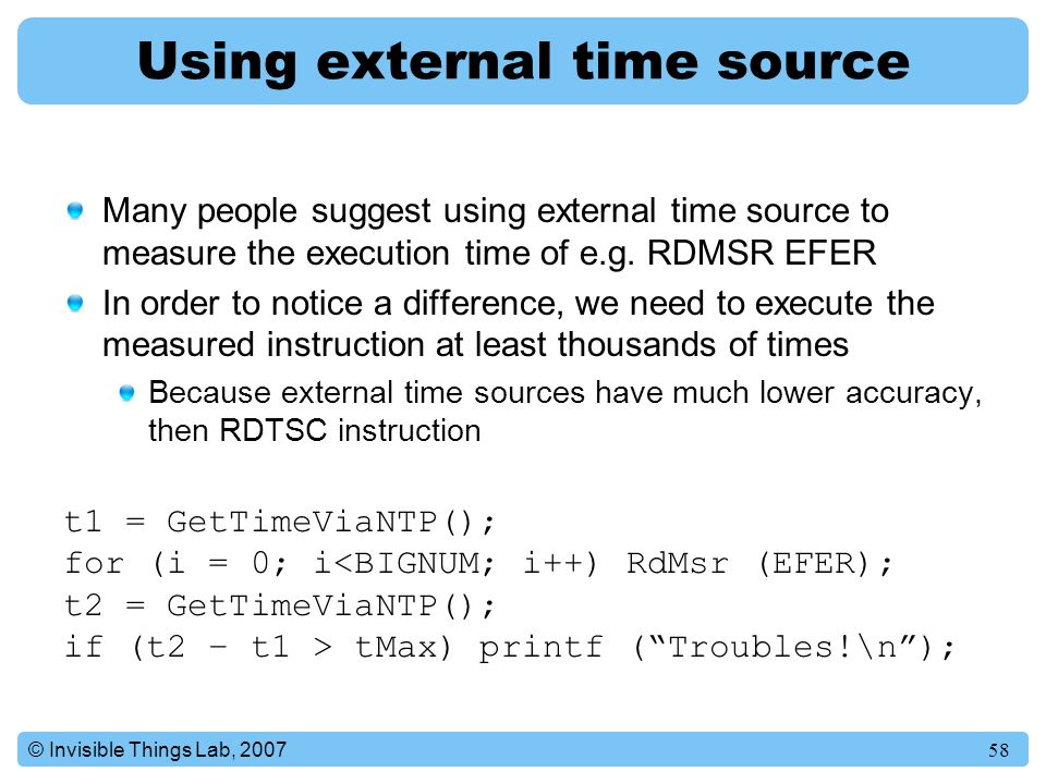 Using external time source