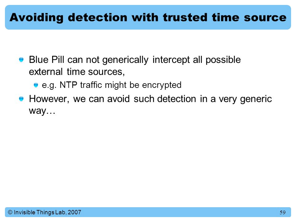 Avoiding detection with trusted time source