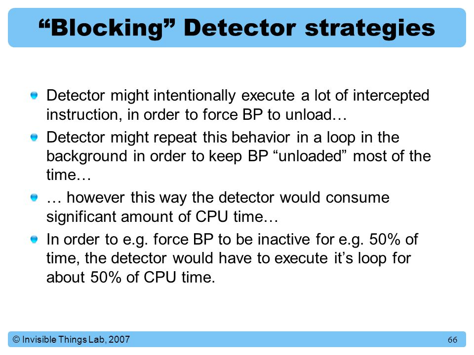 Blocking Detector strategies