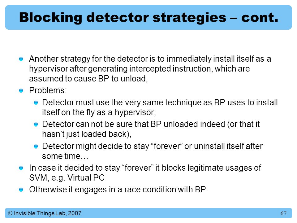 Blocking detector strategies – cont.