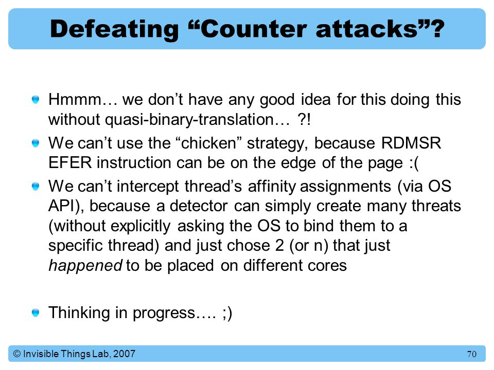 Defeating Counter attacks