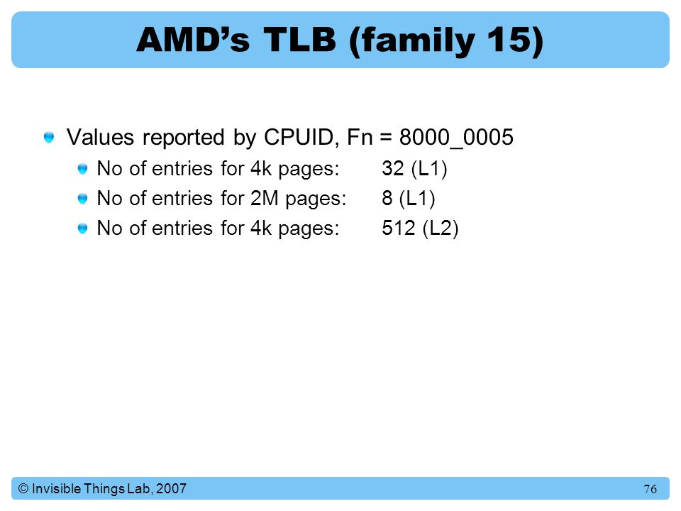 AMD's TLB (family 15) Values reported by CPUID, Fn = 8000_0005