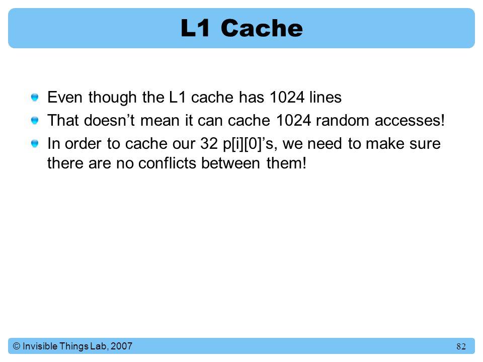 L1 Cache Even though the L1 cache has 1024 lines