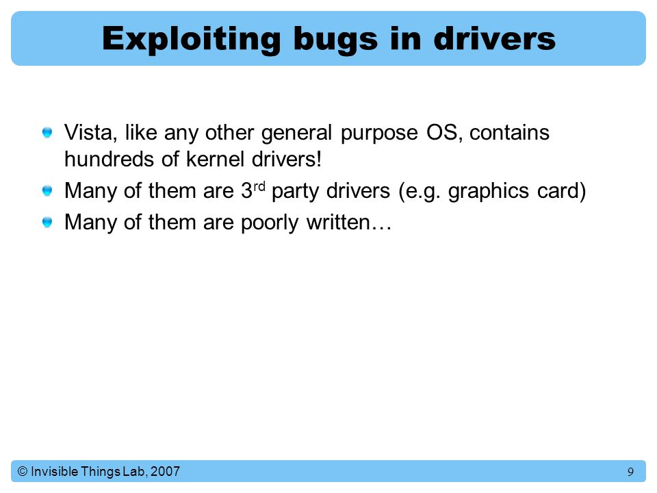 Exploiting bugs in drivers