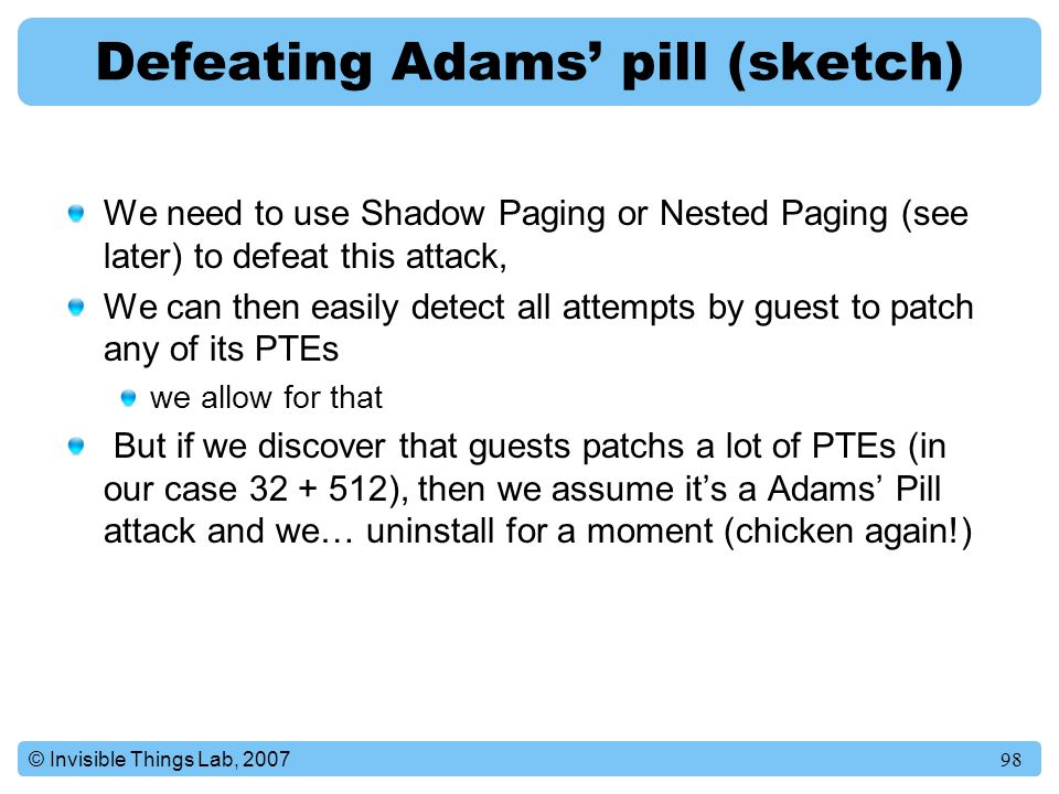 Defeating Adams' pill (sketch)
