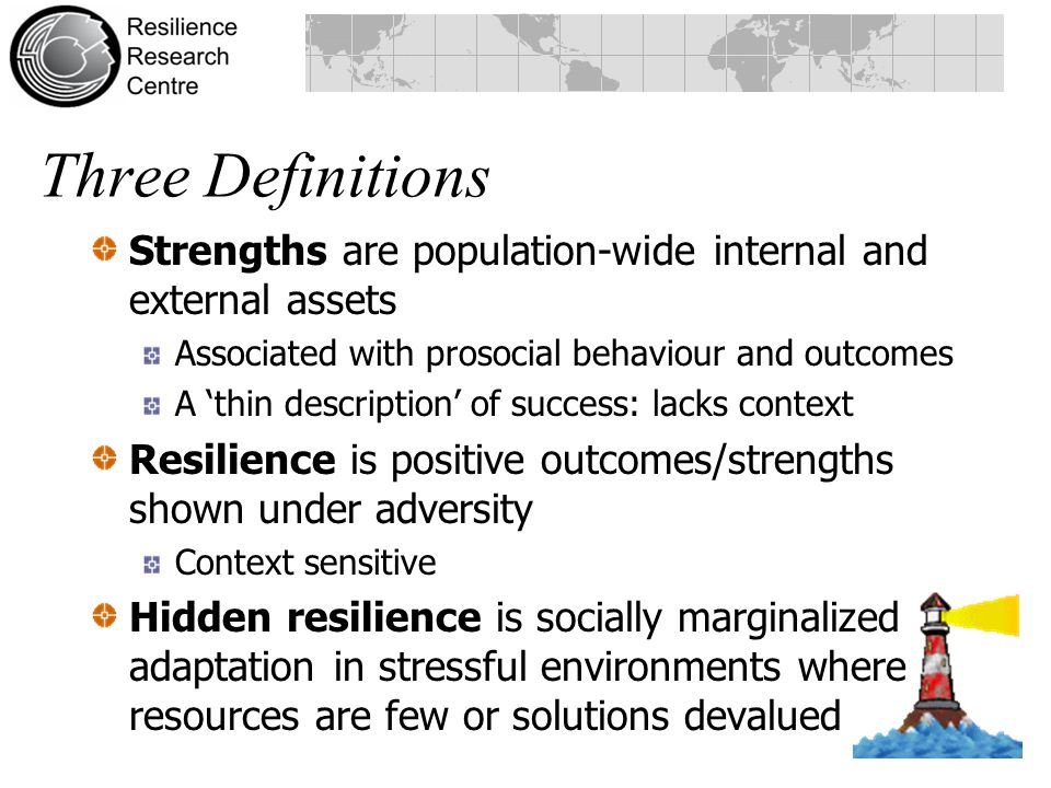 Three Definitions Strengths are population-wide internal and external assets. Associated with prosocial behaviour and outcomes.