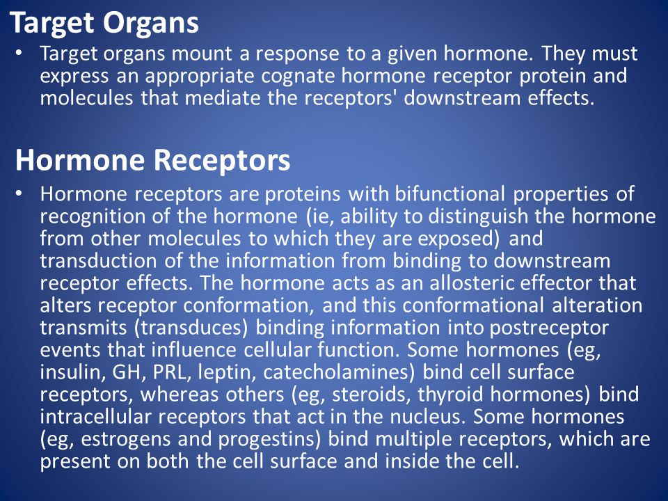 Target Organs Hormone Receptors