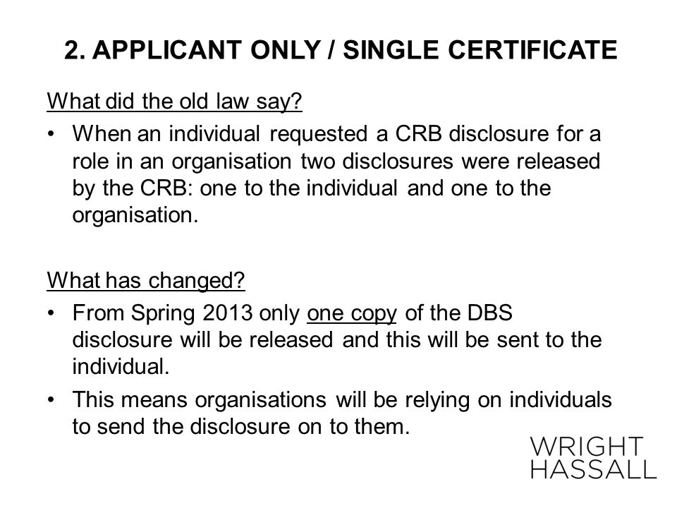 2. APPLICANT ONLY / SINGLE CERTIFICATE