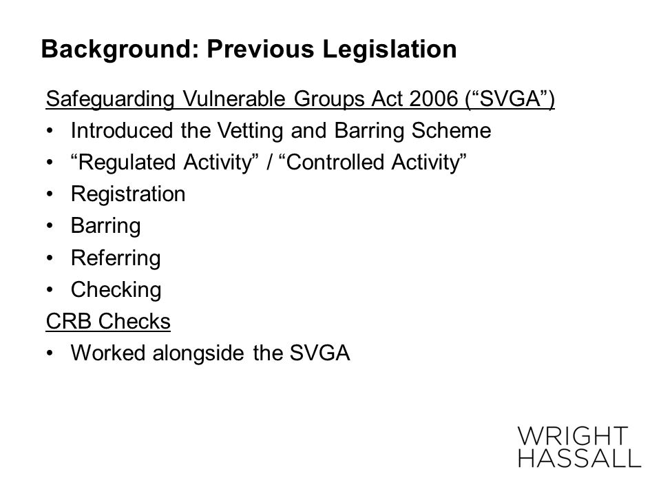 Background: Previous Legislation