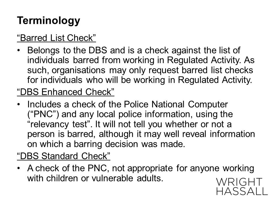 Terminology Barred List Check