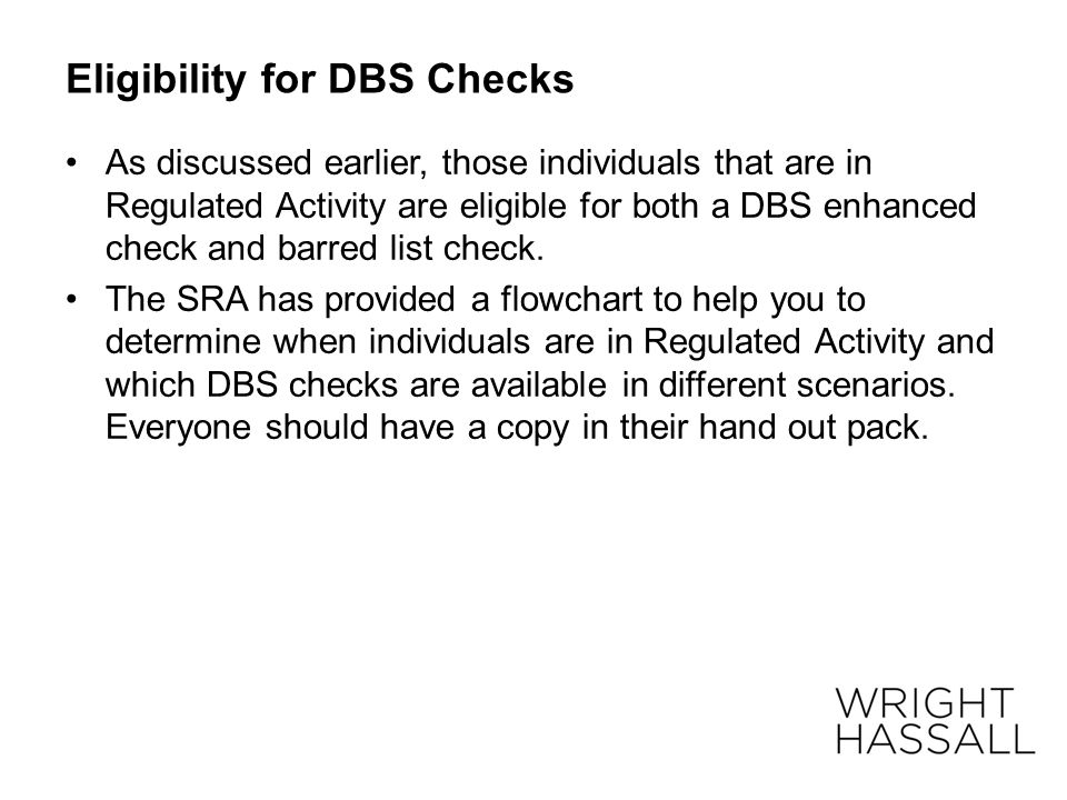 Eligibility for DBS Checks