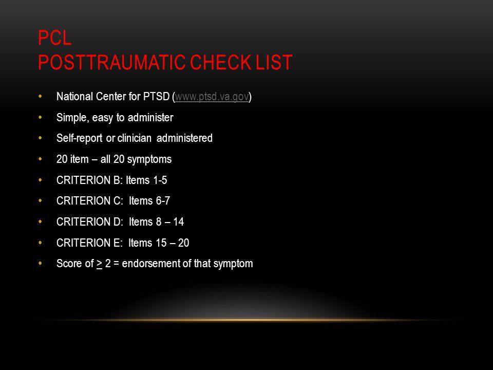 PCL Posttraumatic Check List