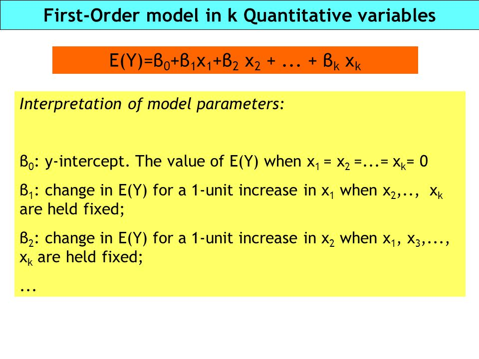 First-Order model in k Quantitative variables