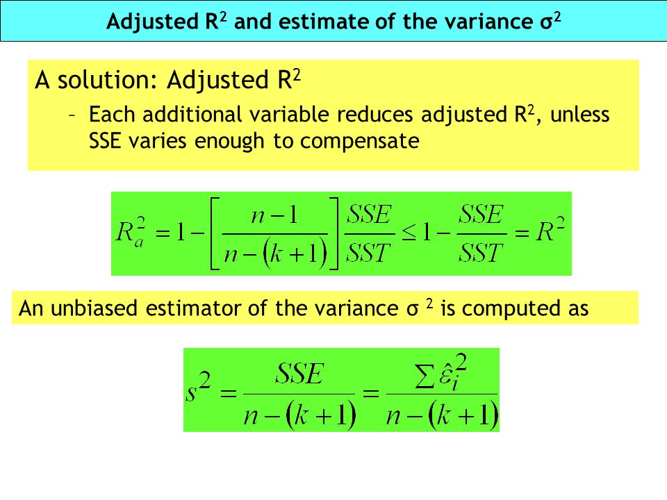 Adjusted R2 and estimate of the variance σ2