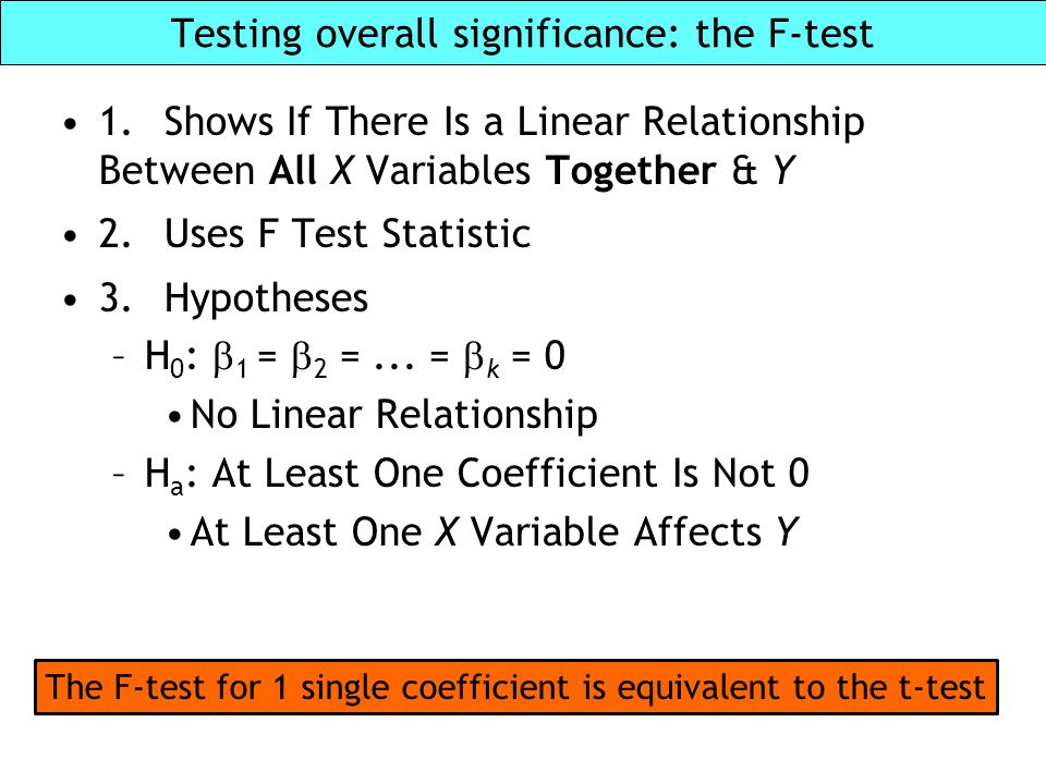 Testing overall significance: the F-test