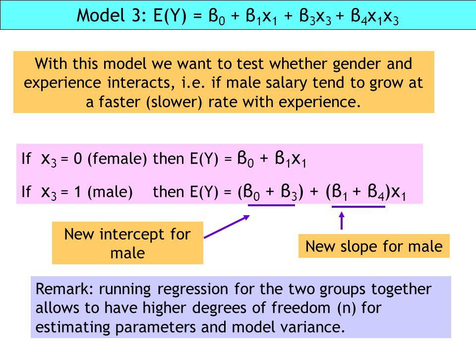 Model 3: E(Y) = β0 + β1x1 + β3x3 + β4x1x3