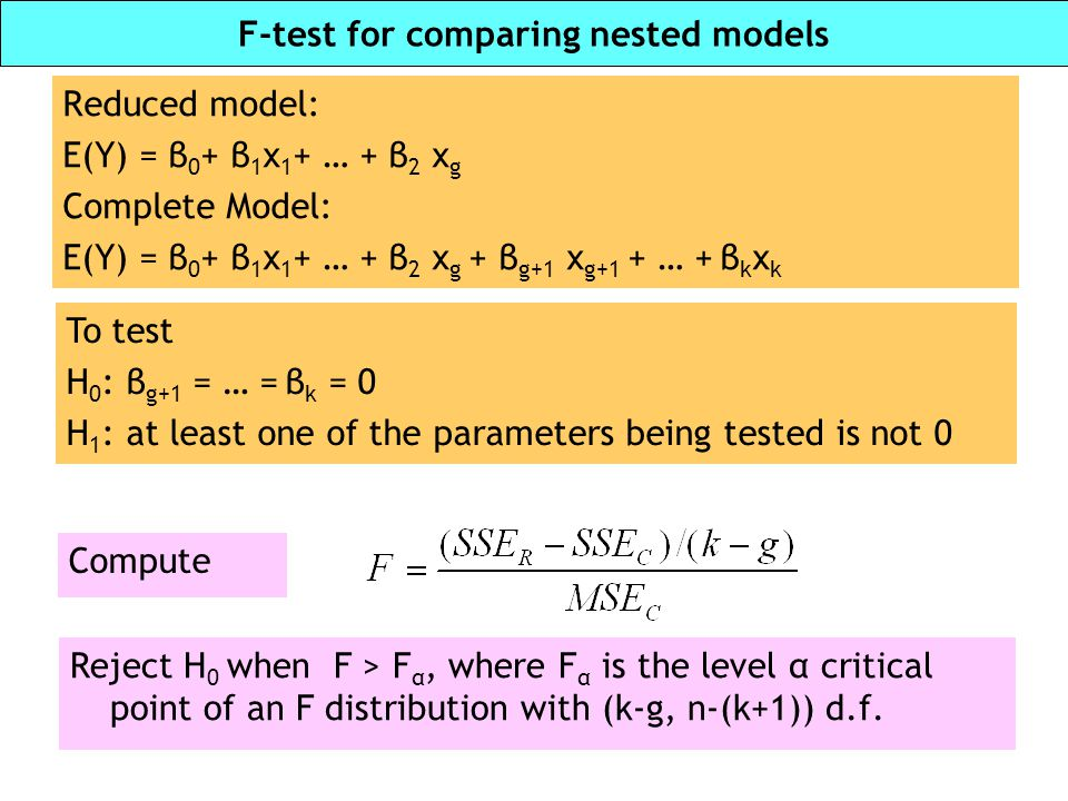 F-test for comparing nested models