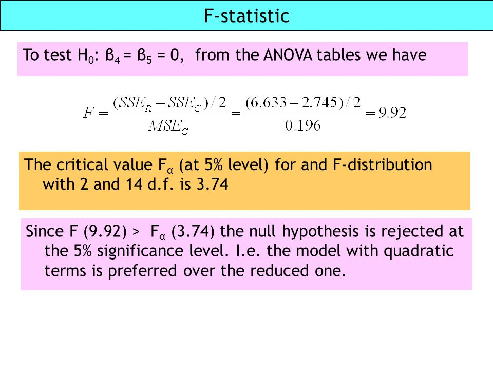 F-statistic To test H0: β4 = β5 = 0, from the ANOVA tables we have
