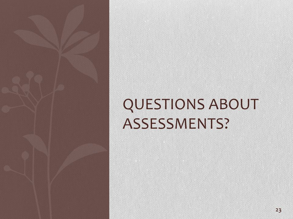 Questions about Assessments