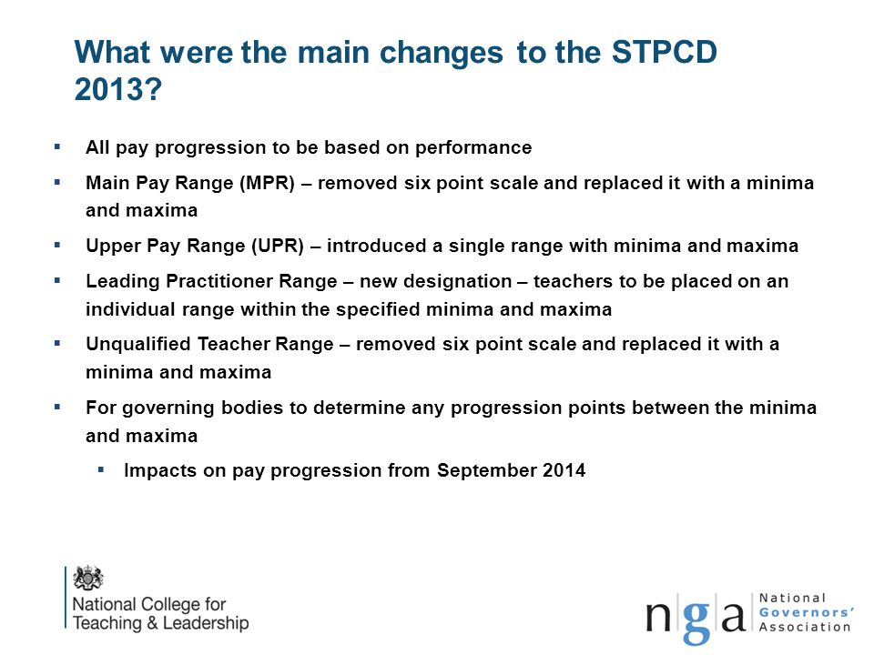 What were the main changes to the STPCD 2013