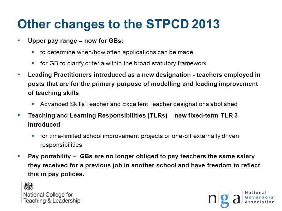 Other changes to the STPCD 2013
