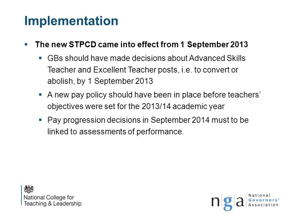 Implementation The new STPCD came into effect from 1 September 2013