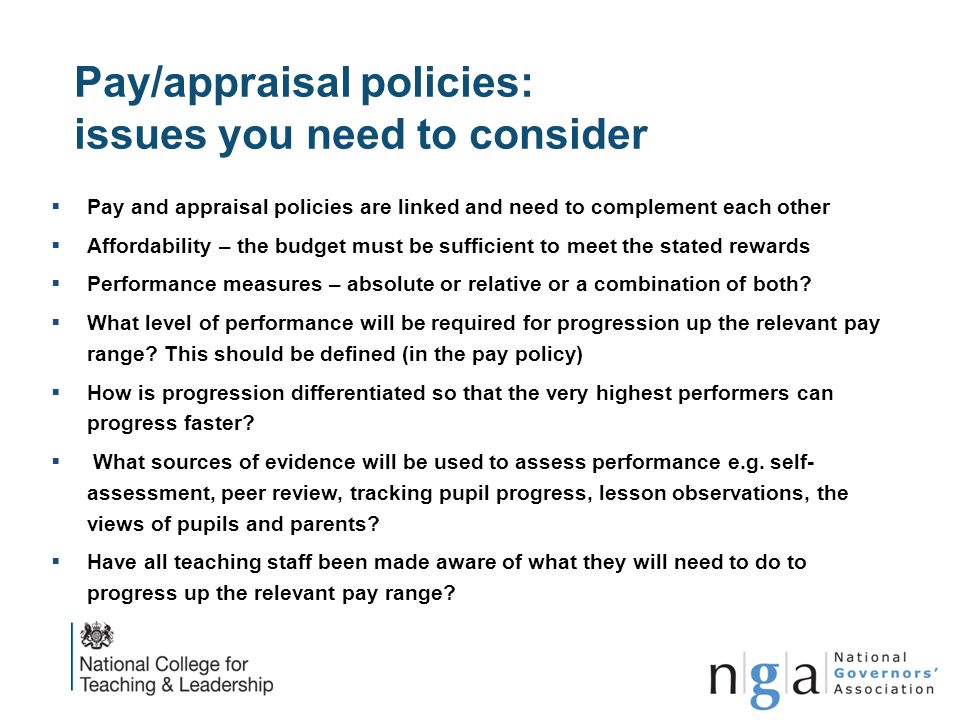 Pay/appraisal policies: issues you need to consider