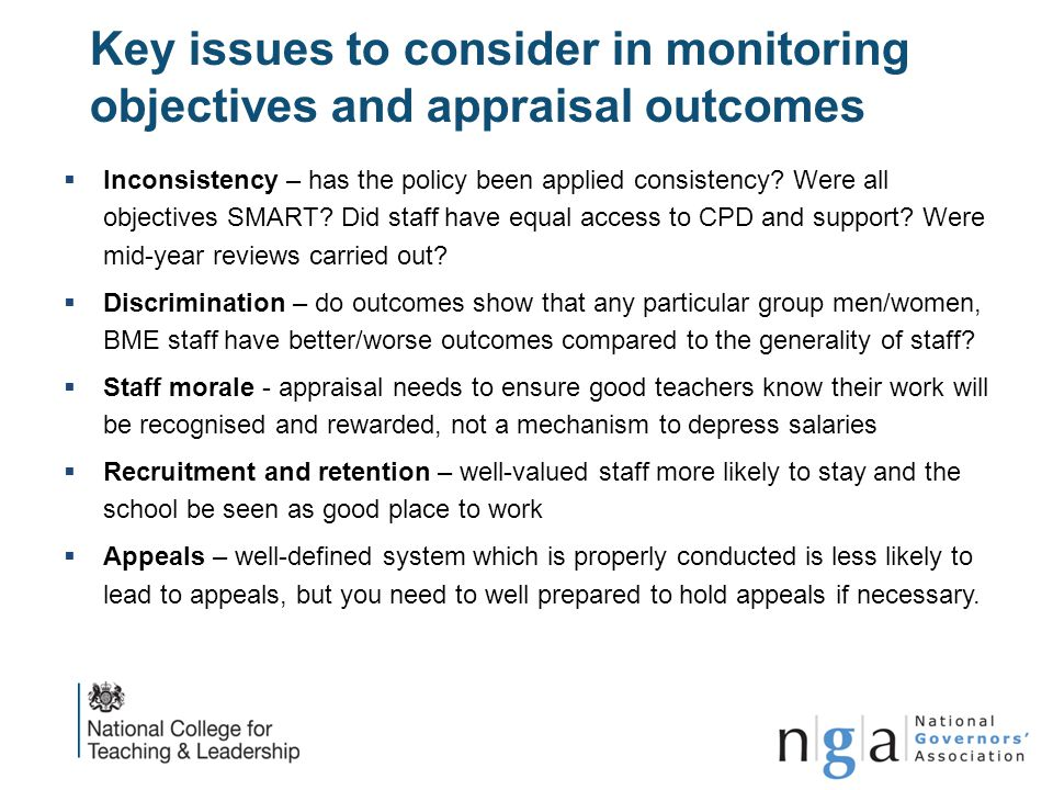 Key issues to consider in monitoring objectives and appraisal outcomes