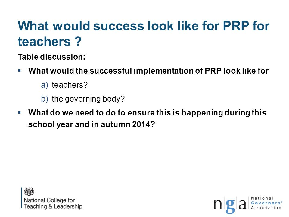 What would success look like for PRP for teachers