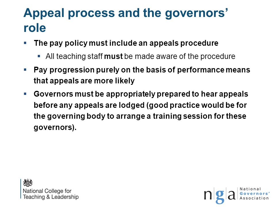 Appeal process and the governors' role