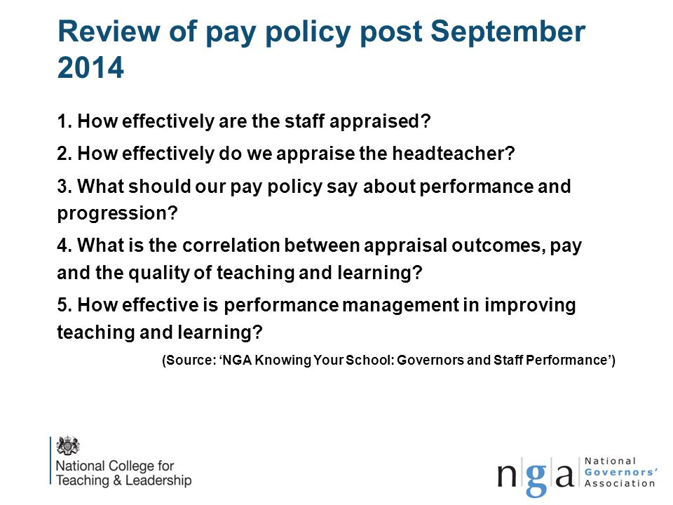 Review of pay policy post September 2014