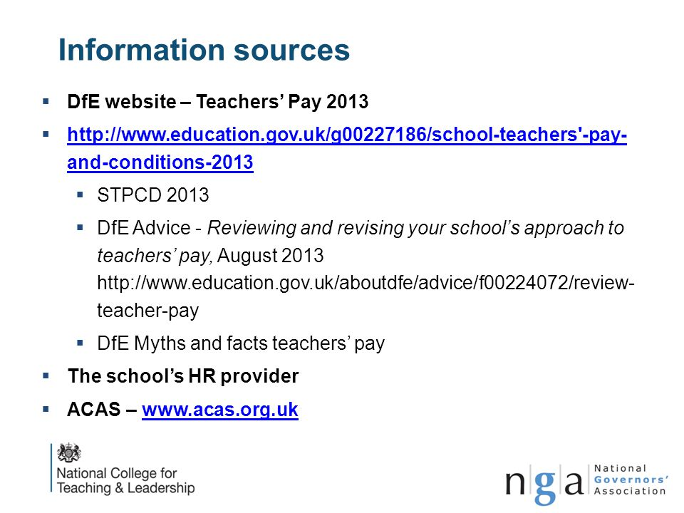 Information sources DfE website – Teachers' Pay 2013