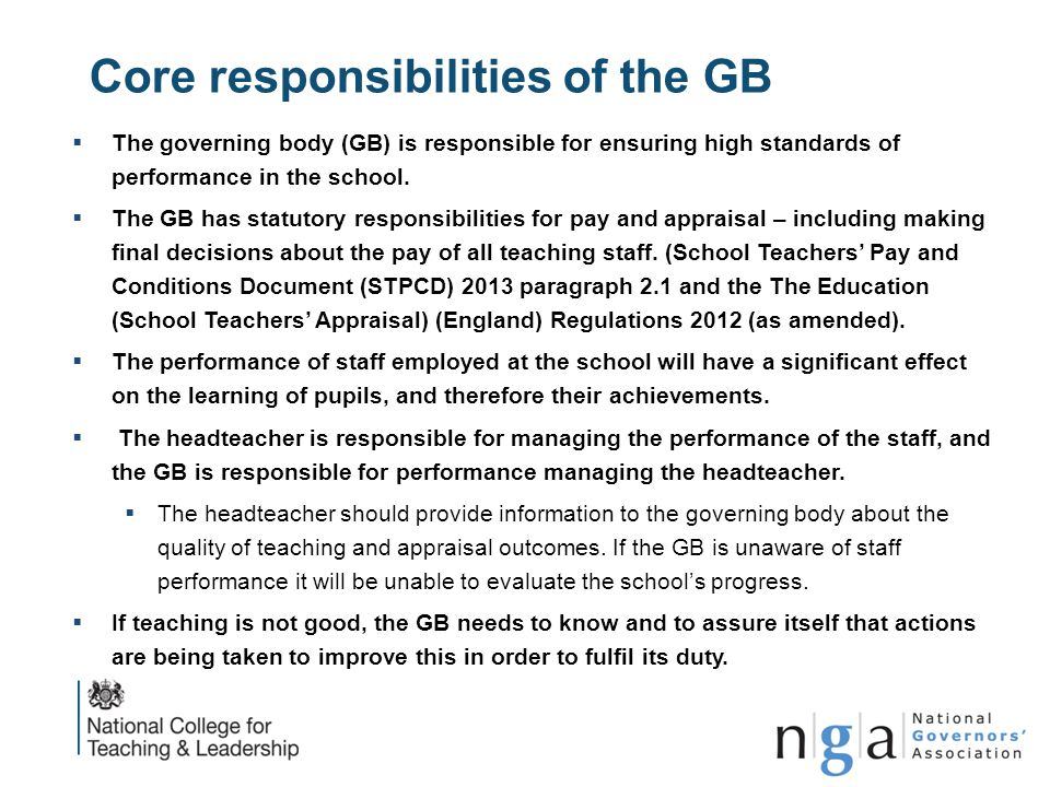 Core responsibilities of the GB