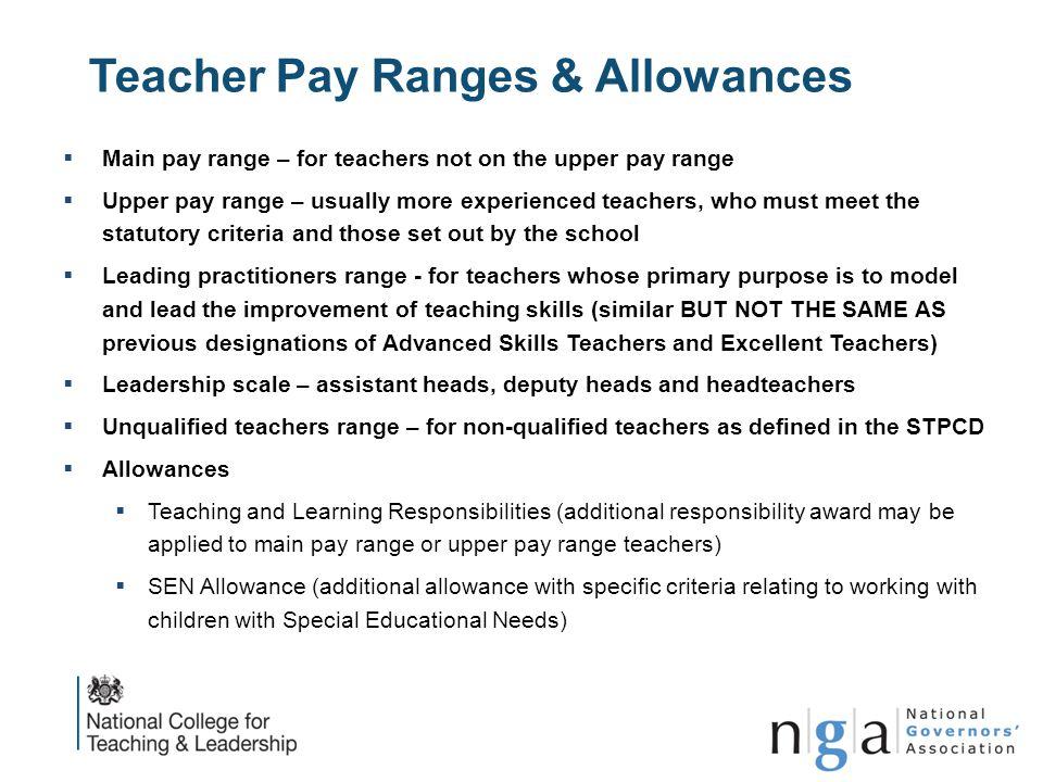 Teacher Pay Ranges & Allowances