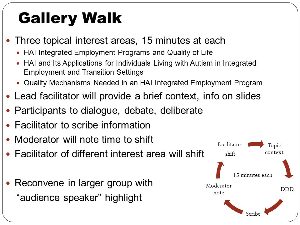 Gallery Walk Three topical interest areas, 15 minutes at each