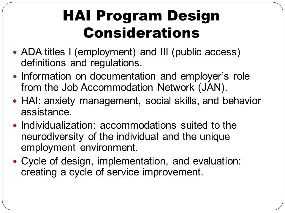 HAI Program Design Considerations