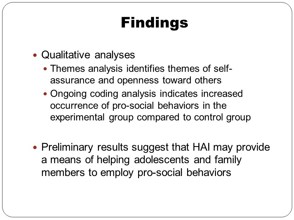 Findings Qualitative analyses