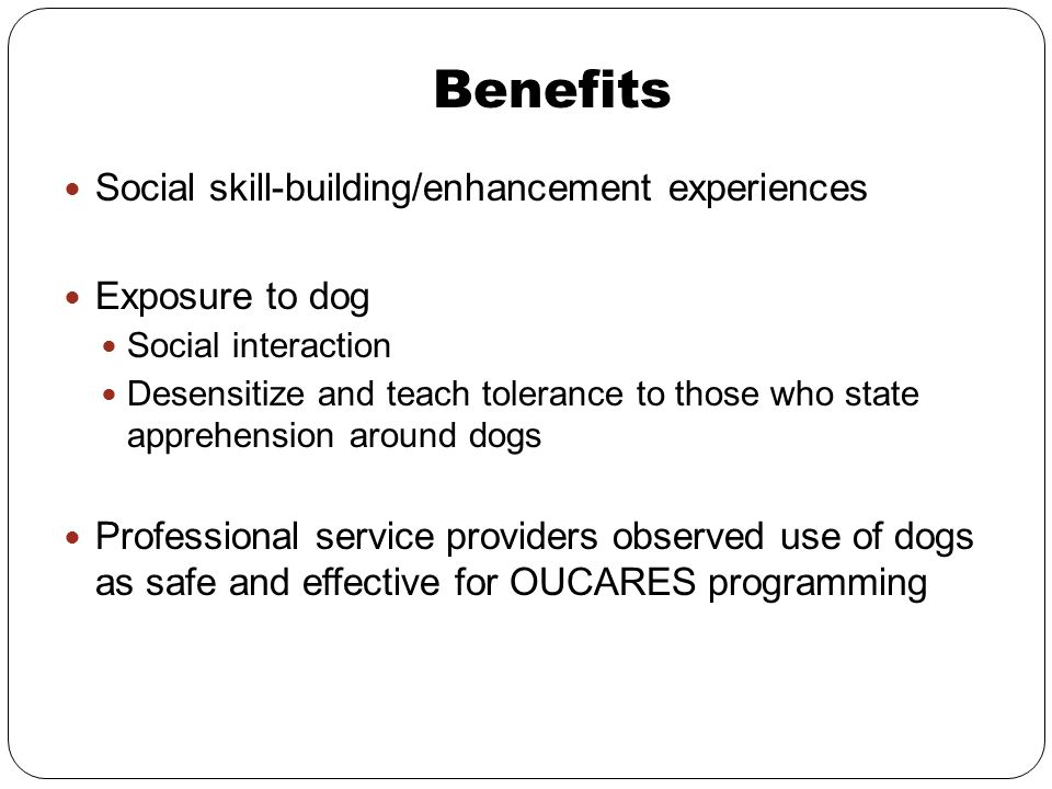 Benefits Social skill-building/enhancement experiences Exposure to dog