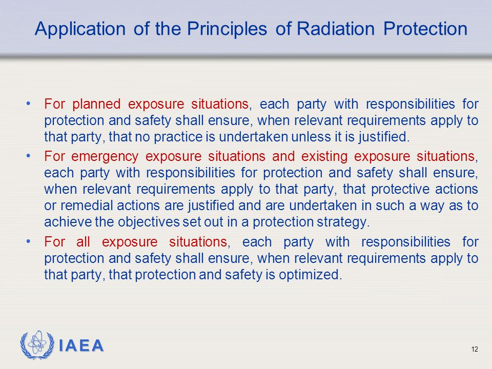 Application of the Principles of Radiation Protection