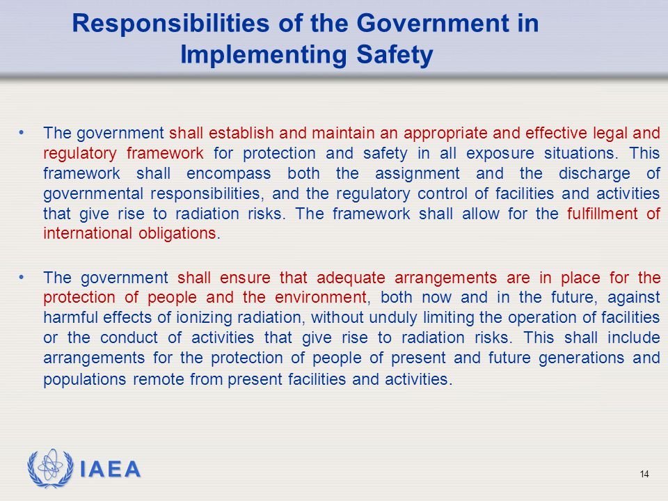 Responsibilities of the Government in Implementing Safety