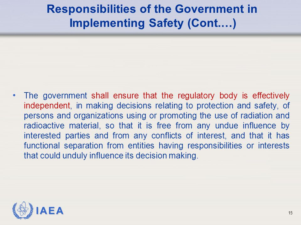 Responsibilities of the Government in Implementing Safety (Cont.…)