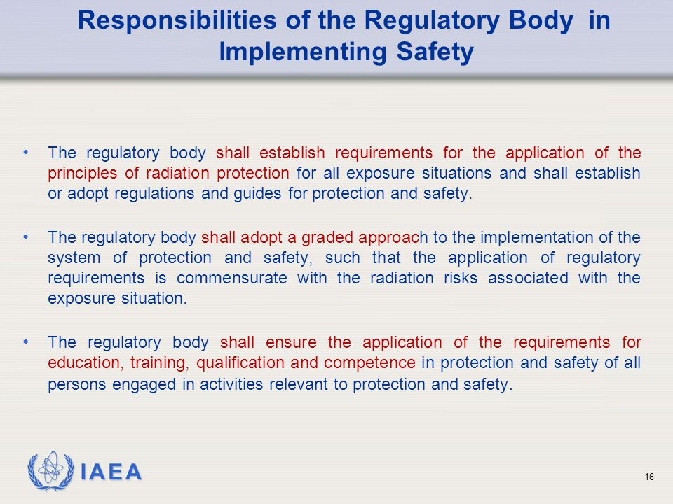 Responsibilities of the Regulatory Body in Implementing Safety