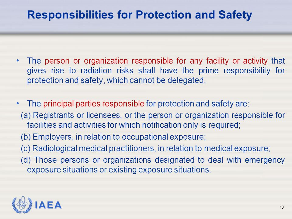 Responsibilities for Protection and Safety