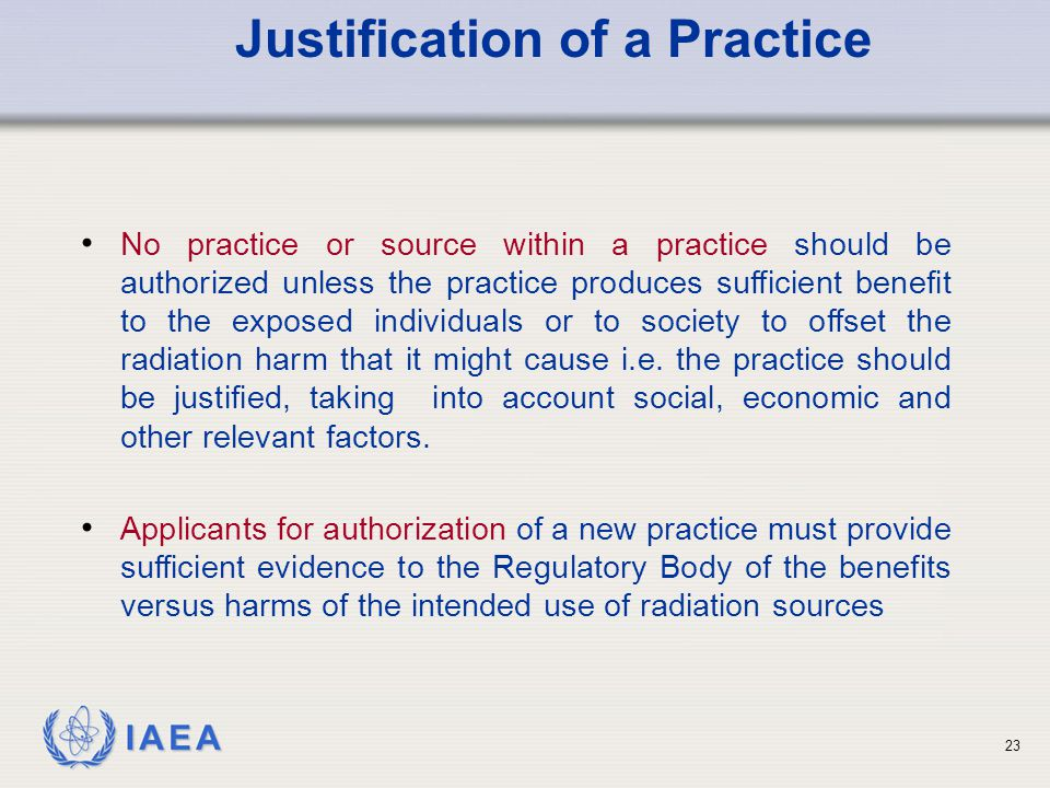 Justification of a Practice