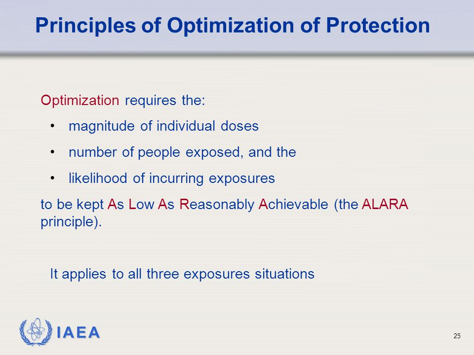 Principles of Optimization of Protection