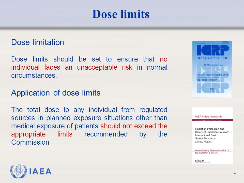 Dose limits Dose limitation Application of dose limits